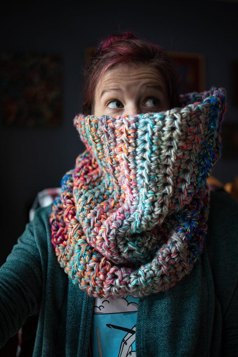 Yarn Scrap Cowl Free Crochet Pattern